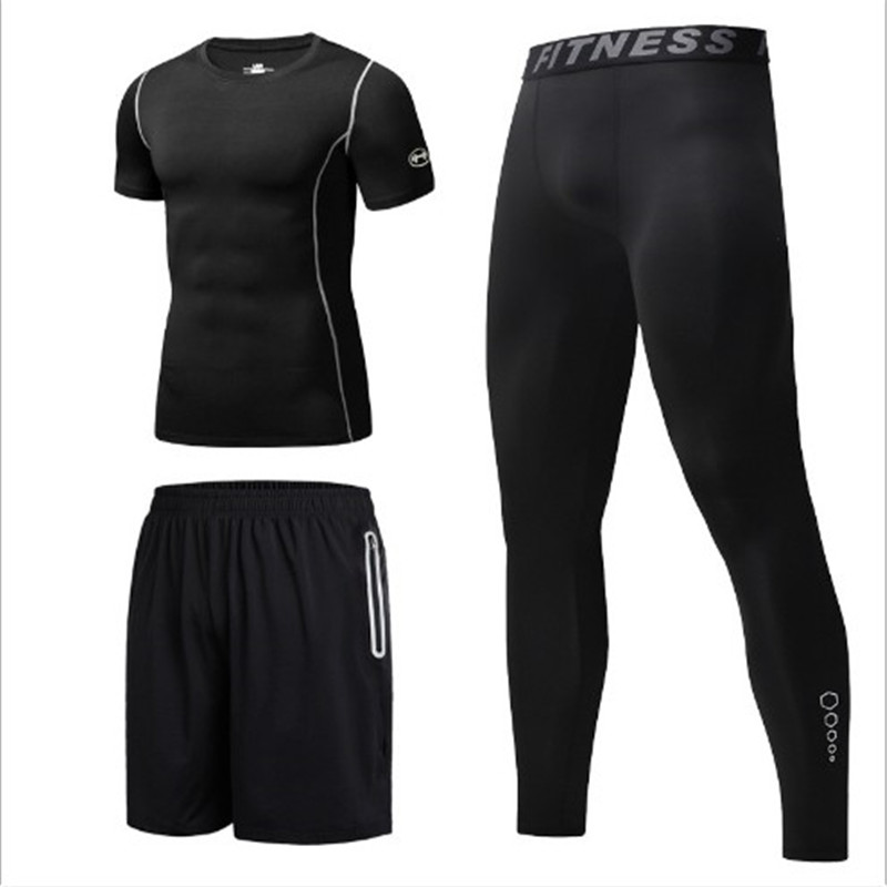 Sports Suit Men's Summer Fitness Wear Running Basketball Quick Drying Five Pants Casual Suit Sportswear Three Piece