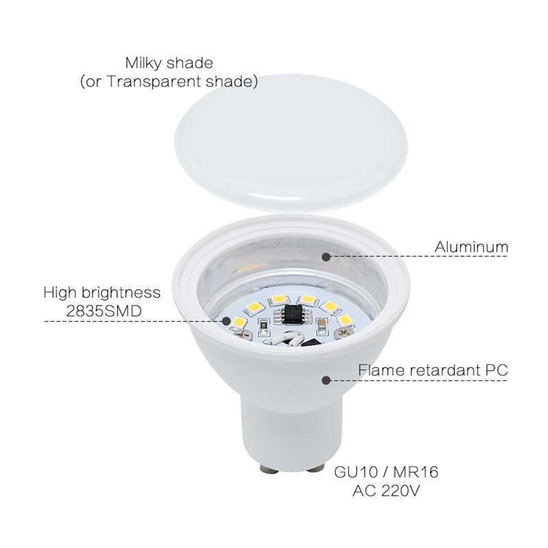 6W High Power MR16 LED Bulb AC 220V 2835 SMD GU10 LED Light With Protection Cap LED Spotlight LED Lamp For Ceiling Not Dimmable