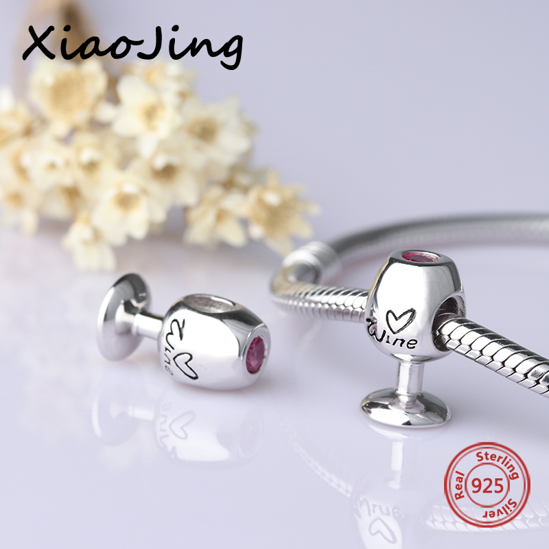 New arrival Authentic 925 Sterling Silver Jewelry Red Wine Glass Charm Beads Fit pandora Bracelets diy Pendants Lover Gifts in Beads from Jewelry Accessories