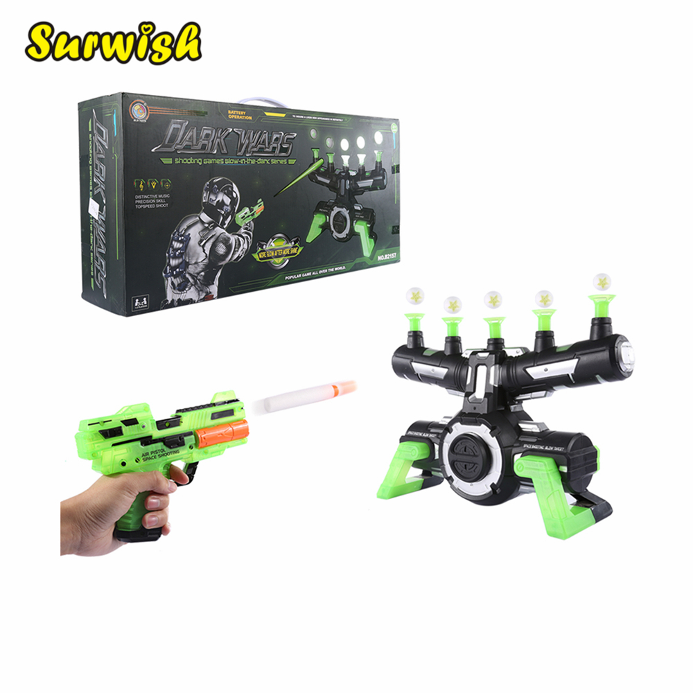 Electrodynamics Suspension Soft Bullet Shooting Toy and Suspension Dart Board Set (Luminous Version) - Black-green