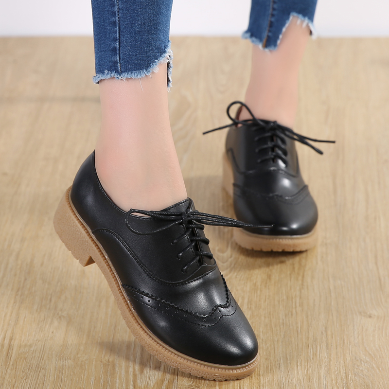 Women Vulcanized Shoes 2018 Fashion Solid Color Genuine Leather Women Sneakers Fashion Black Shoes for Women Shoes