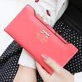 Fashion Women's Synthetic PU Leather Bowknot Card Bag Money Clips Button Zipper Sweet Clutch Case Purse Long Hand Bag Wallet