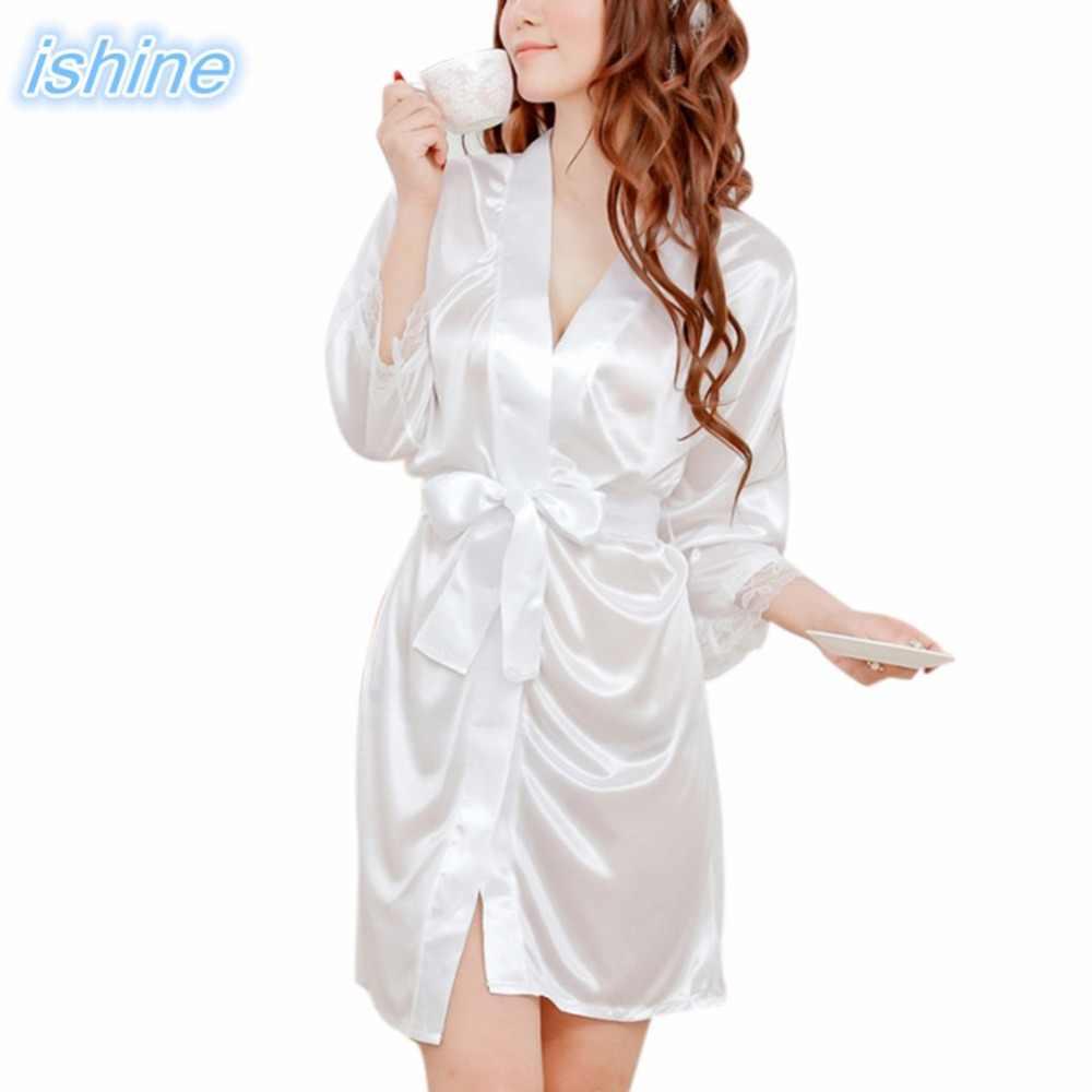 79dba382b4e1 Cheap Sexy Black Ice Silk Nightgowns Bathrobe Nightdress 2018 Summer White  Slip Pajamas Robes Nightdress Gown