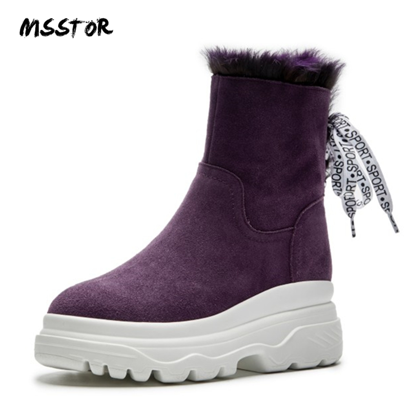 b0fdbb4a48c MSSTOR Cross-tied Fashion Fur Boots Purple Zipper Platform Wedge Snow Boots  Women Round Toe Winter Boots Women Booties Boots