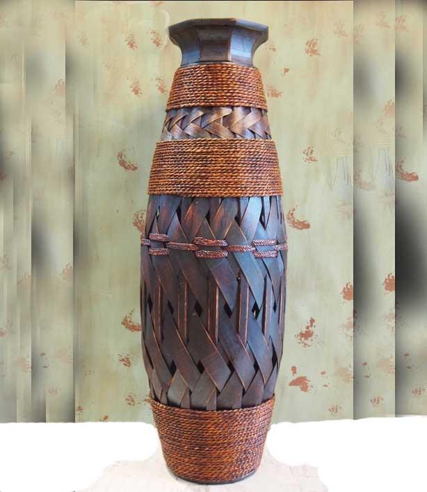 Us 108 0 Large Table Bamboo Decorative Floor Vase Antique Home Flower Woven Retro Vasos Decorativos Para Sala In Vases From