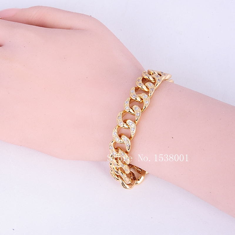 Iced Out Micro Bracelet Yellow Gold Filled Womens Mens