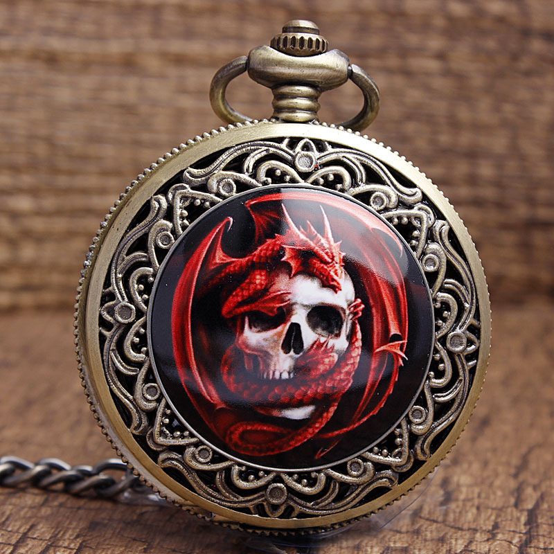 Antique Steampunk Style Pocket Watch Bronze Cool Red Skull Dragon Quartz Pocket Watches Men Women Fob Chain Necklace Gifts P339