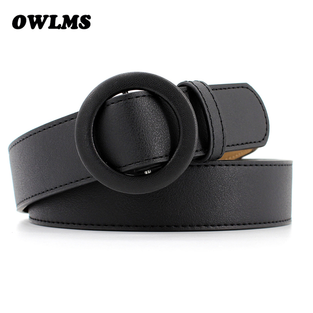 79dfdbfaf New black Round buckle belts for women female leisure jeans wild belt  without pin metal buckle