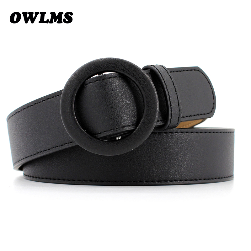 New black Round buckle   belts   for women female leisure jeans wild   belt   without pin metal buckle brown PU leather strap   belt   woman