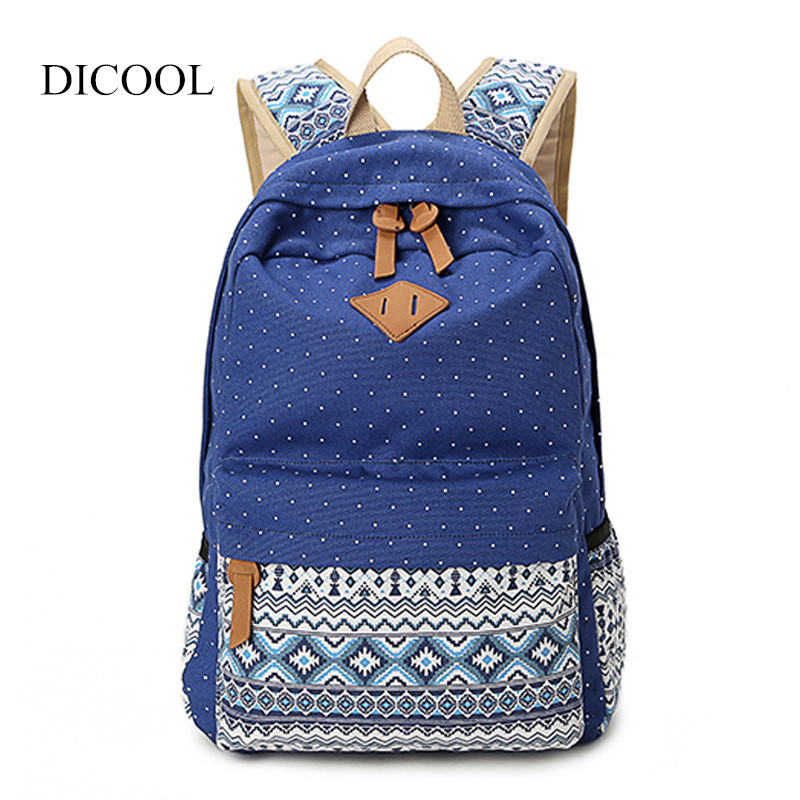 2018 Vintage Girl School Bags High Quality Cute Dot Printing Canvas Women Backpack Mochila Casual Bag School Backpack