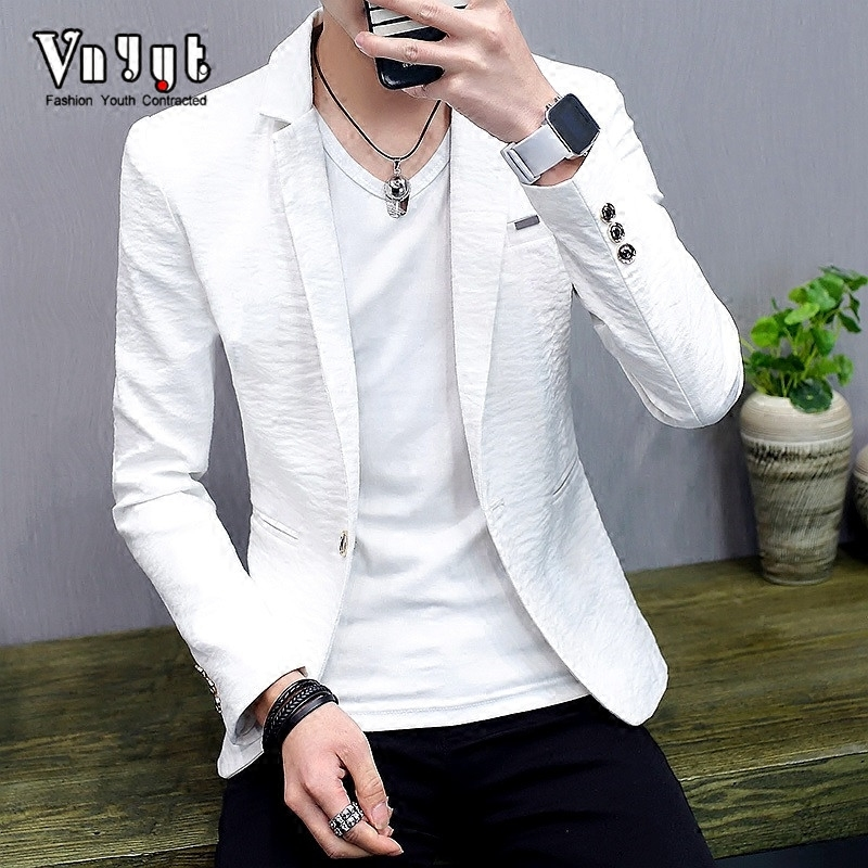 2019 Men's Cultivate One's Morality Blazer Male Thin Handsome Personality  Spring And Summer Pure Color Leisure Blazertrend