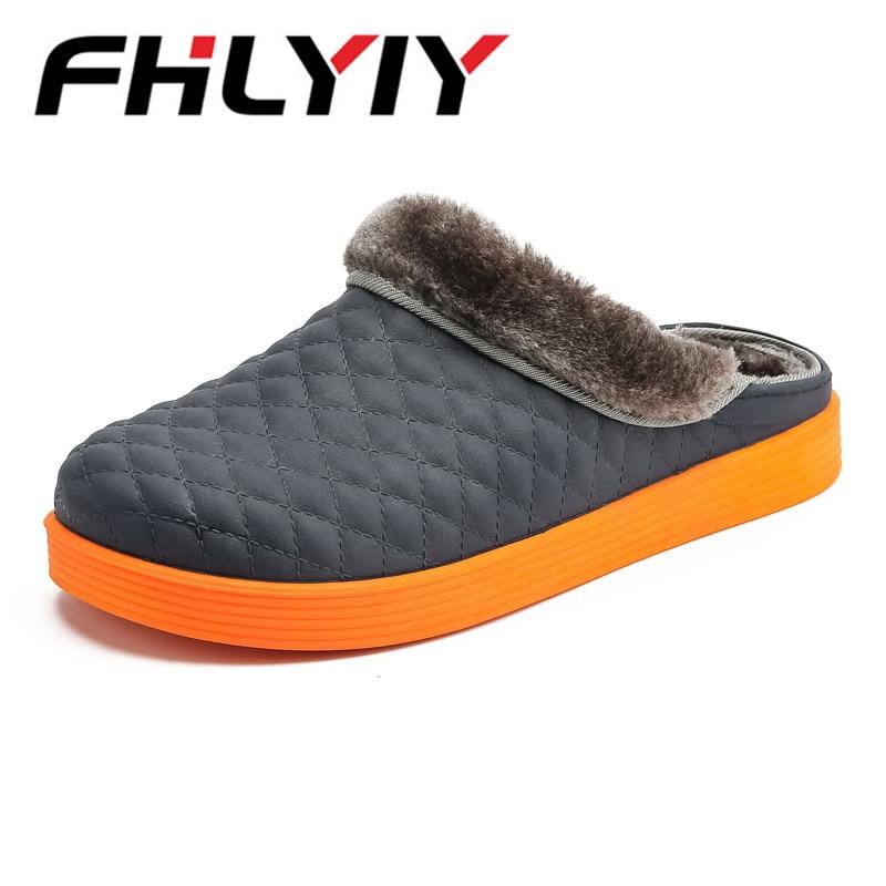 Hommes gray Chaussures Non brown D'hiver Cuir En Chaud Chinelo Masculino D'intérieur black Blue Coton Épais Pantoufles slip Orange Peluche Maison wn0N8vOm