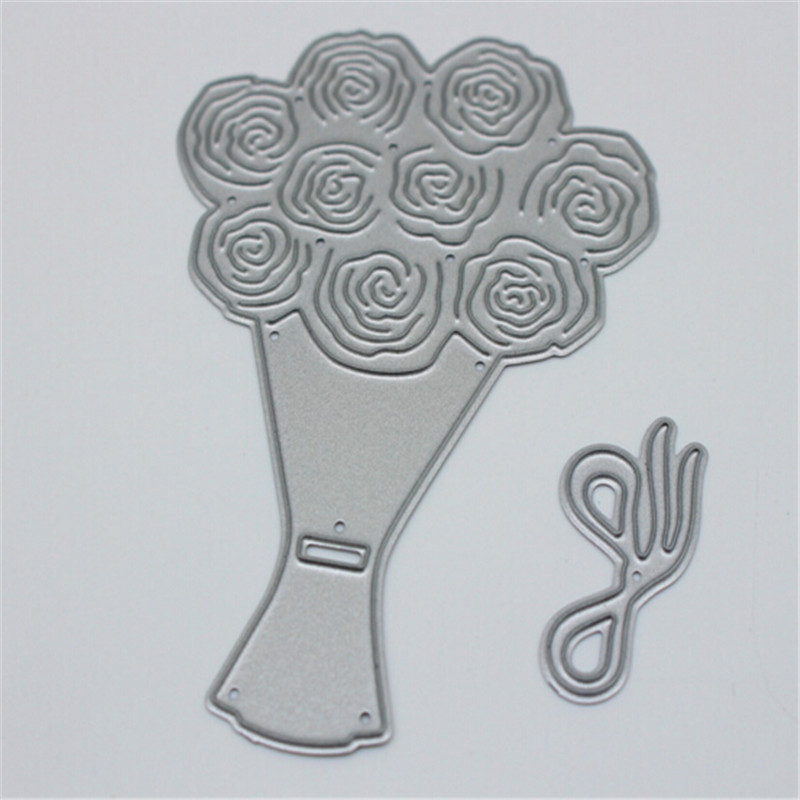 A bouquet of flowers Metal Die Cutting Scrapbooking Embossing Dies Cut Stencils Decorative Cards DIY album Card Paper Card Maker design personalized printing red wedding invitations cards blank paper card kit laser cut lace flower convite pack of 50