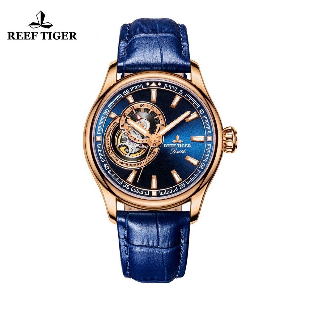 Récif Tigre/RT Robe montre homme Bleu Tourbillon Montres Top Marque De Luxe Automatique montre mécanique Relogio Masculino RGA1639