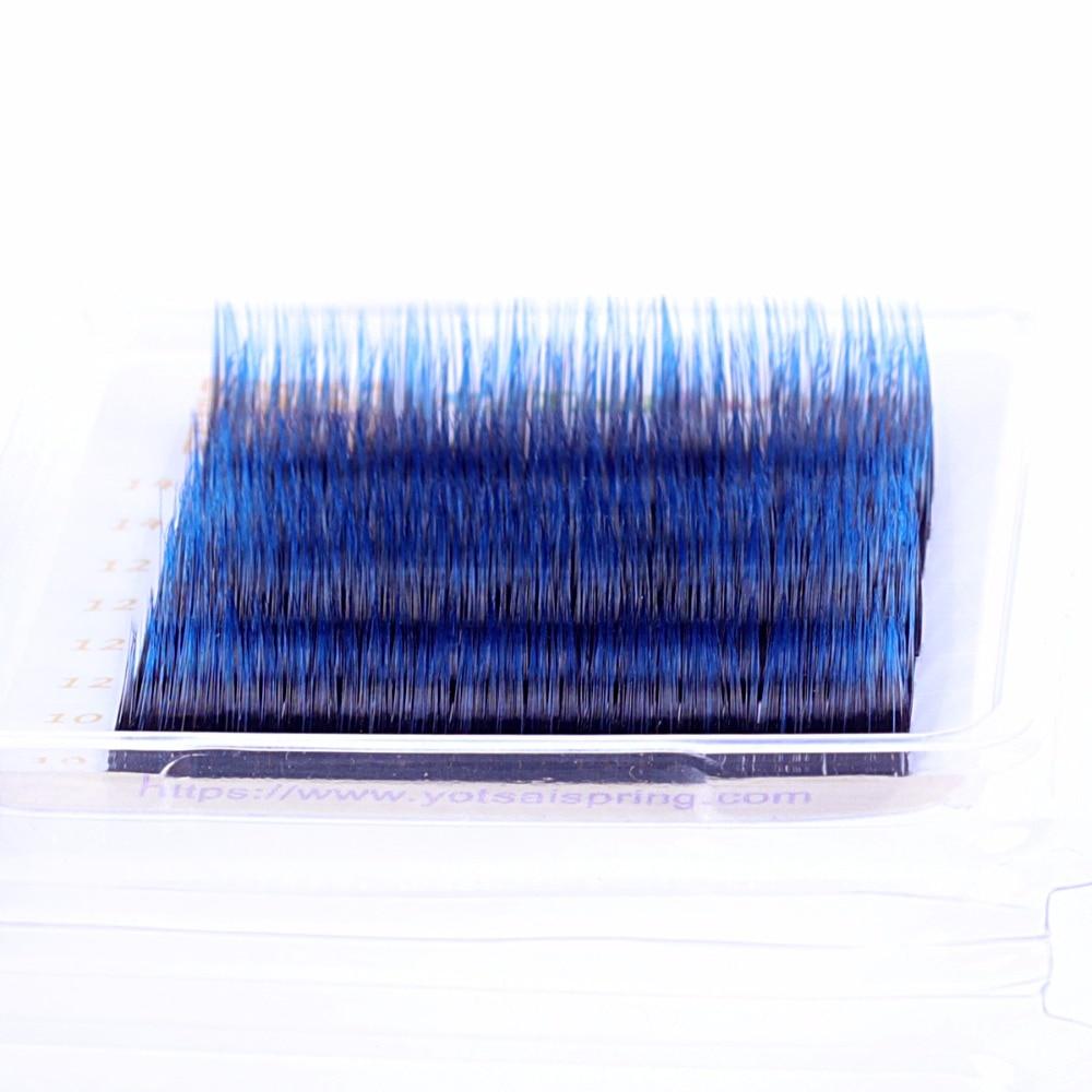 2pcs 0.07 Gradient Blue Eyelash Extensions ( Black Eyelashes with Blue-Colored Tips YoTsaiSpring