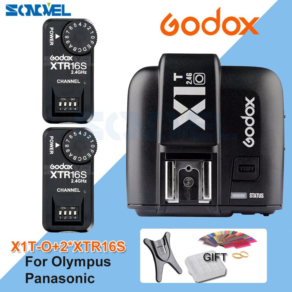 Godox X1T-O TTL 2.4G Wireless Trigger for Olympus Panasonic+2x XTR-16S Flash Receiver for V850/V860C/V850II/V860IIC/V860N/V860II godox x1t n ttl 2 4g wireless trigger for nikon 3x xtr 16s flash receiver for godox v850 v860iic f v860c n v850ii speedlite