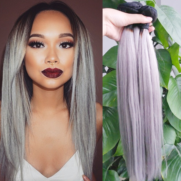 7a Brazilian Ombre Grey Hair Weave Straight 3pcs Two Tone Ombre