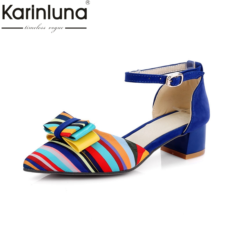 d9d47e30649172 Sandals Heels Med 33 Women Party Bow Shoes Karinluna Colorful New Size Date  Fashion Chunky 43 ...