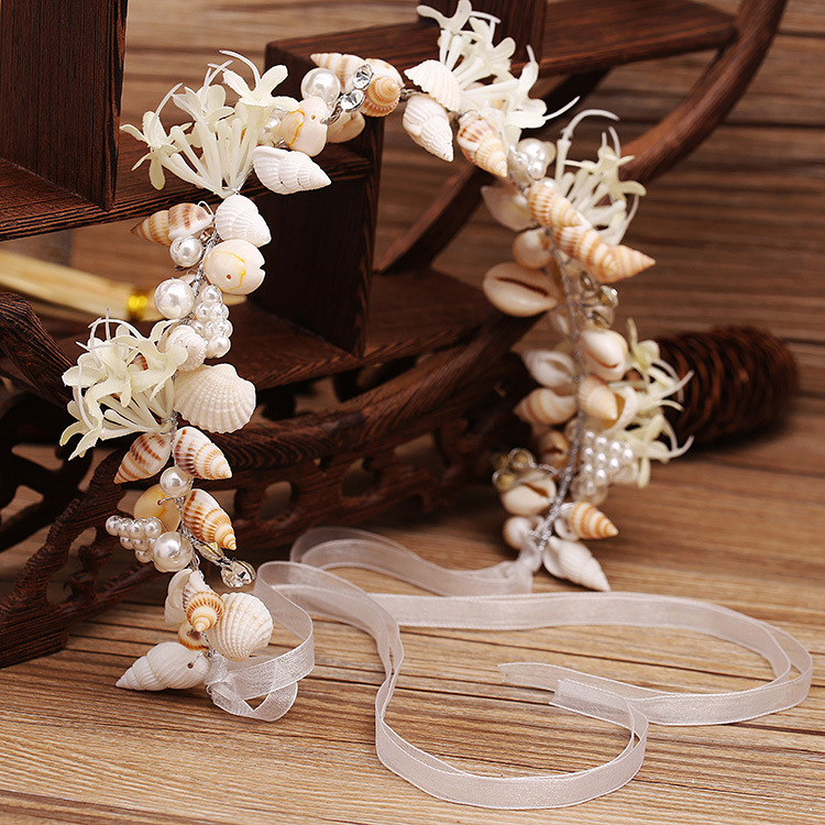 High-grade bride handmade head jewelry pearl Conch Shell Crystal Hair Ornament headdress Beach Hairband Wedding Hair Accessories