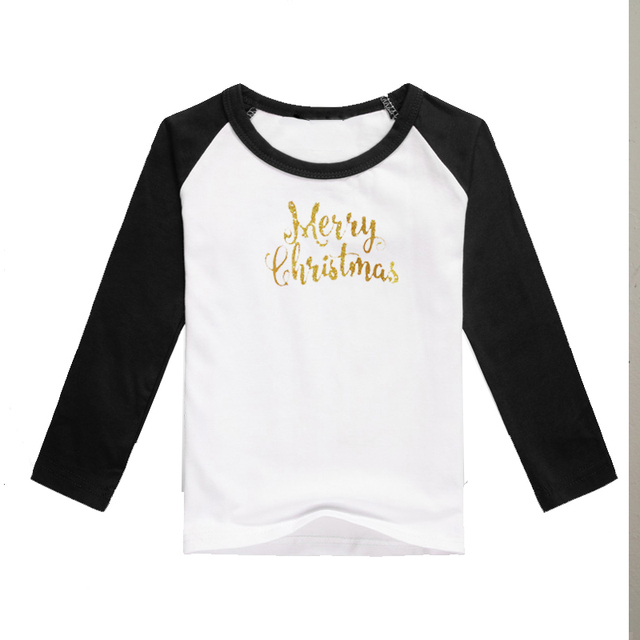 family christmas t shirts children glitter letter merry christmas shirts wholesale boutique raglan black lone