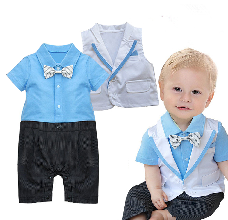 Free Shipping 4sets/lot Baby Boy's Formal Romper with vest set
