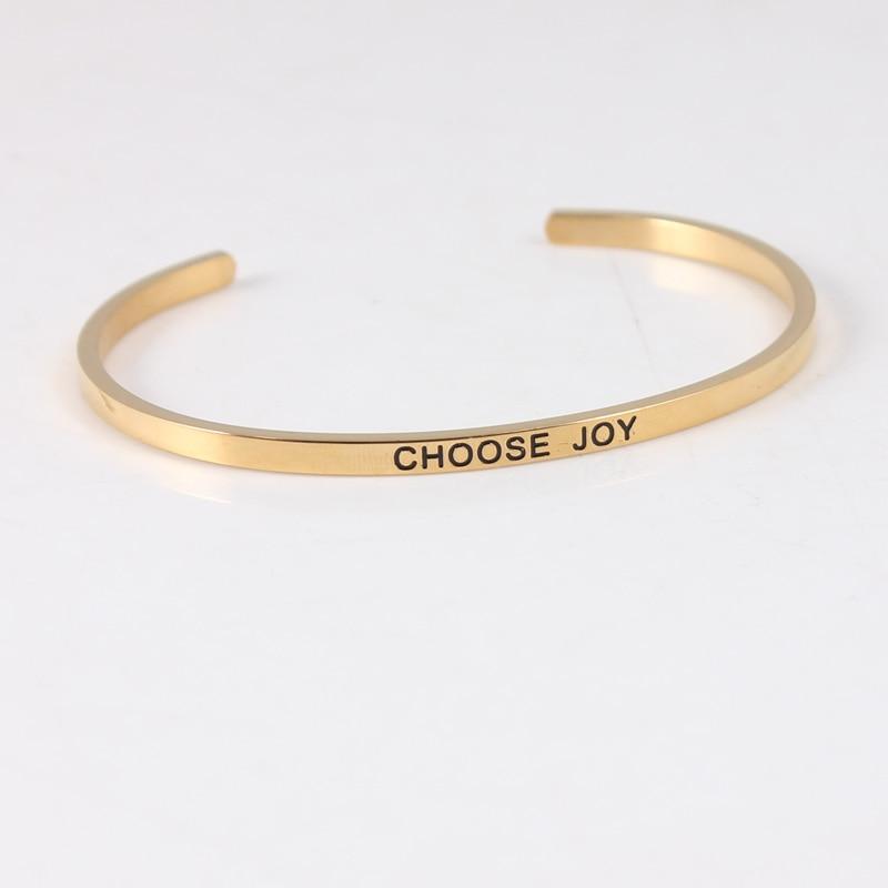 Choisissez le bracelet de manchette de citation inspirante Positive de bracelet d'acier inoxydable de la joie 316L Mantra Bracelets pour femme 10 pièces