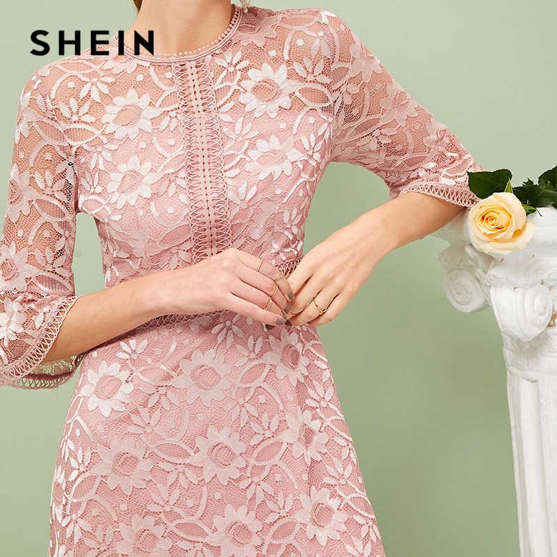 SHEIN, кружевное платье с рукавами-воланами, весенне-летнее платье 2019, романтичное розовое однотонное эластичное ТРАПЕЦИЕВИДНОЕ ПЛАТЬЕ С Высокой Талией