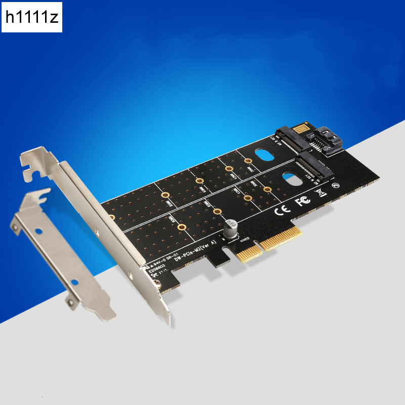 PCIe to M.2 NVMe SSD NGFF Riser Card 110mm M Key and B Key Dual Interface with SATA Port Converter Adapter Expansion Card for PC