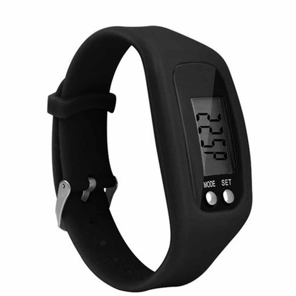 Цифровой ЖК-дисплей шагомер браслет бег шаг ходьбы счетчик расстояния спортивные наручные часы для женщин и мужчин платье 2018 подарки для детей