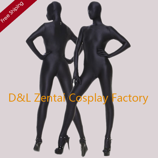 Free Shipping DHL Hot Halloween Sexy Costumes Full Body Lycra Zentai Spandex Unisex Suit In Black