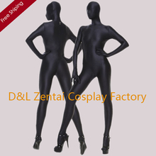 Free Shipping DHL Hot Halloween Sexy Costumes Full Body Lycra Zentai Spandex Unisex Suit In Black For Woman Plus Size