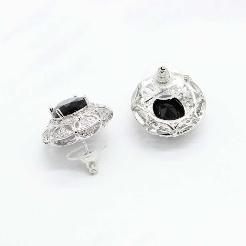 ใหม่มาถึงเงิน 925 เครื่องประดับชุดผู้หญิงสีดำ Semi - precious สร้อยคอจี้ต่างหูแหวนสร้อยข้อมือคริสต์มาสของขวัญ