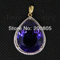 New Elegant 14K Yellow Gold Amethyst Diamond Pendant  Pear 16x20mm Solid   CA001