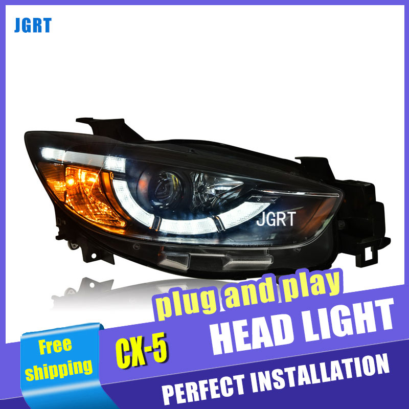 Car Styling For Mazda CX-5 headlights 2013-15 For CX-5 LED head lamp Angel eye led DRL front light Bi-Xenon Lens xenon HID for mazda 3 axela 2013 2015 year led headlight head lamp with bi xenon projector lens front light ld