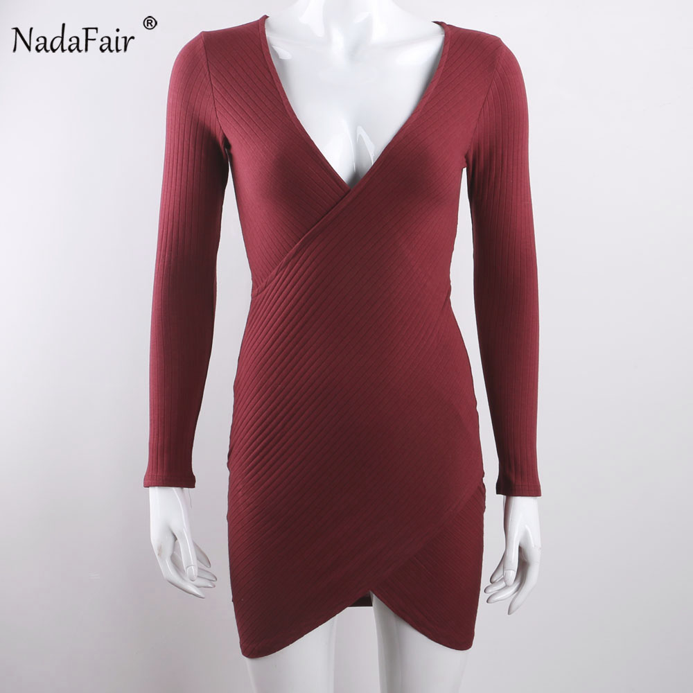 Nadafair V Neck Long Sleeve Criss Cross Cotton Knitted Autumn Women Dress Sexy Club Bodycon Bandage Party Dress Plus Size 4