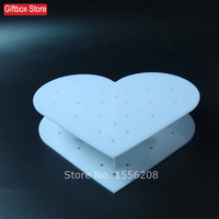 Quality heart acrylic cake stand lollipop display rack 6mm lollypop stand holder white color 21 holes