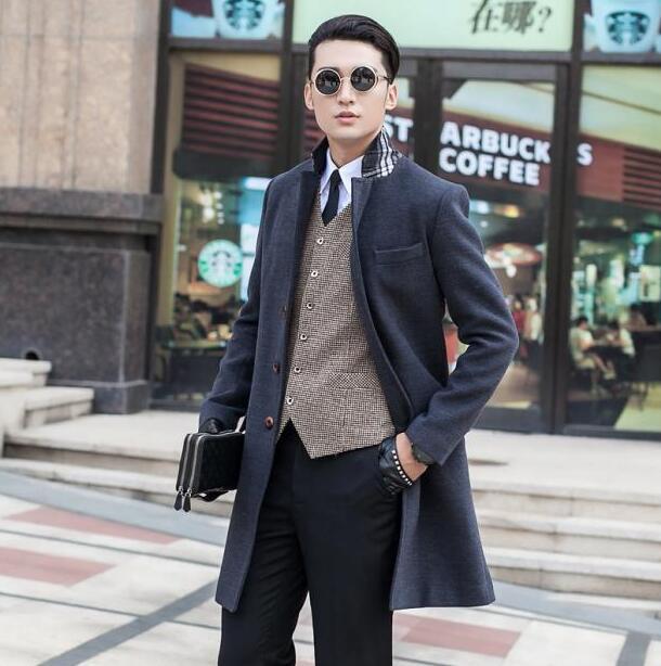 2017 winter Grey manteau homme wool coat men coat veste homme overcoat men trench coat fashion brand plus size M - 7XL 8XL 9XL