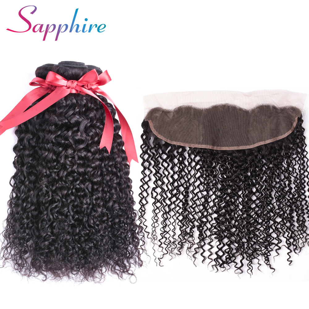 Sapphire Kinky Curly Brazilian hair 3 Bundles with Frontal Closure Remy human hair with Ear to