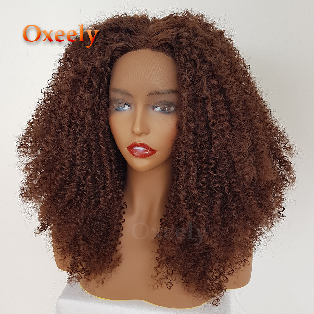 Brown Color Afro Curly Hair Synthetic Lace Front Wigs Glueless 200 Density Free Part Synthetic Lace Front Wig for Black Women