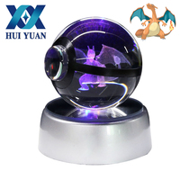 HUI YUAN Charizard Crystal Pokeball Poke Ball 5CM Diameter Button Cell Powered 3D LED Night Light Lamp Decorations
