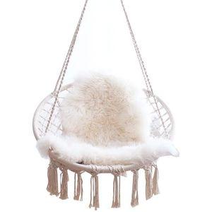 Image 5 - สไตล์นอร์ดิกรอบเปลญวนกลางแจ้งในร่มห้องนอนห้องนอนแขวนเก้าอี้สำหรับเด็กผู้ใหญ่แกว่งเดี่ยวความปลอดภัย Hammock สีขาว