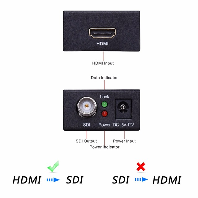 Mini HDMI TO SDI Converter 3G Full HD 1080P HDMI to SDI Adapter Video Converter with Power Adapter for Driving HDMI Monitors