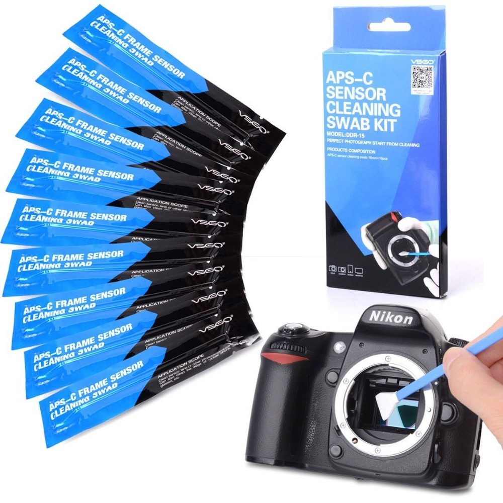 Prix pour VSGO Capteur de la Caméra De Nettoyage Kit DDR-15 10 PCS Sensoe Écouvillons pour Nikon REFLEX Numérique Caméras De Nettoyage