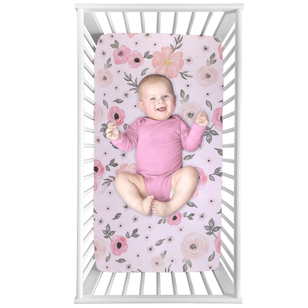Baby Bed Crib Sheet Mattress Cover Cotton Crib Fitted Sheet Soft Baby Bed Mattress Cover Protector Newborn Bedding Crib Sheet