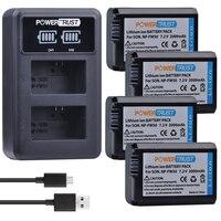 4Pcs 2000mAh NP FW50 NP FW50 Battery + LED USB Dual Charger for Sony Alpha a6500 a6300 a7 7R a7R a7R II a7II NEX 3 NEX 3N NEX 5