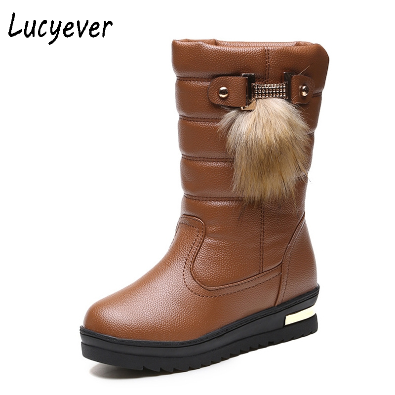 Lucyever 2017 Winter Warm Fur Snow Boots Fashion Slip on Wedges Mid-Calf Boots Cotton Inside Platform Waterproof Shoes Woman