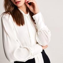 Весна Лето Новое поступление шелковая коммутационная бабочка узел свинца шелковая женская рубашка, блузка