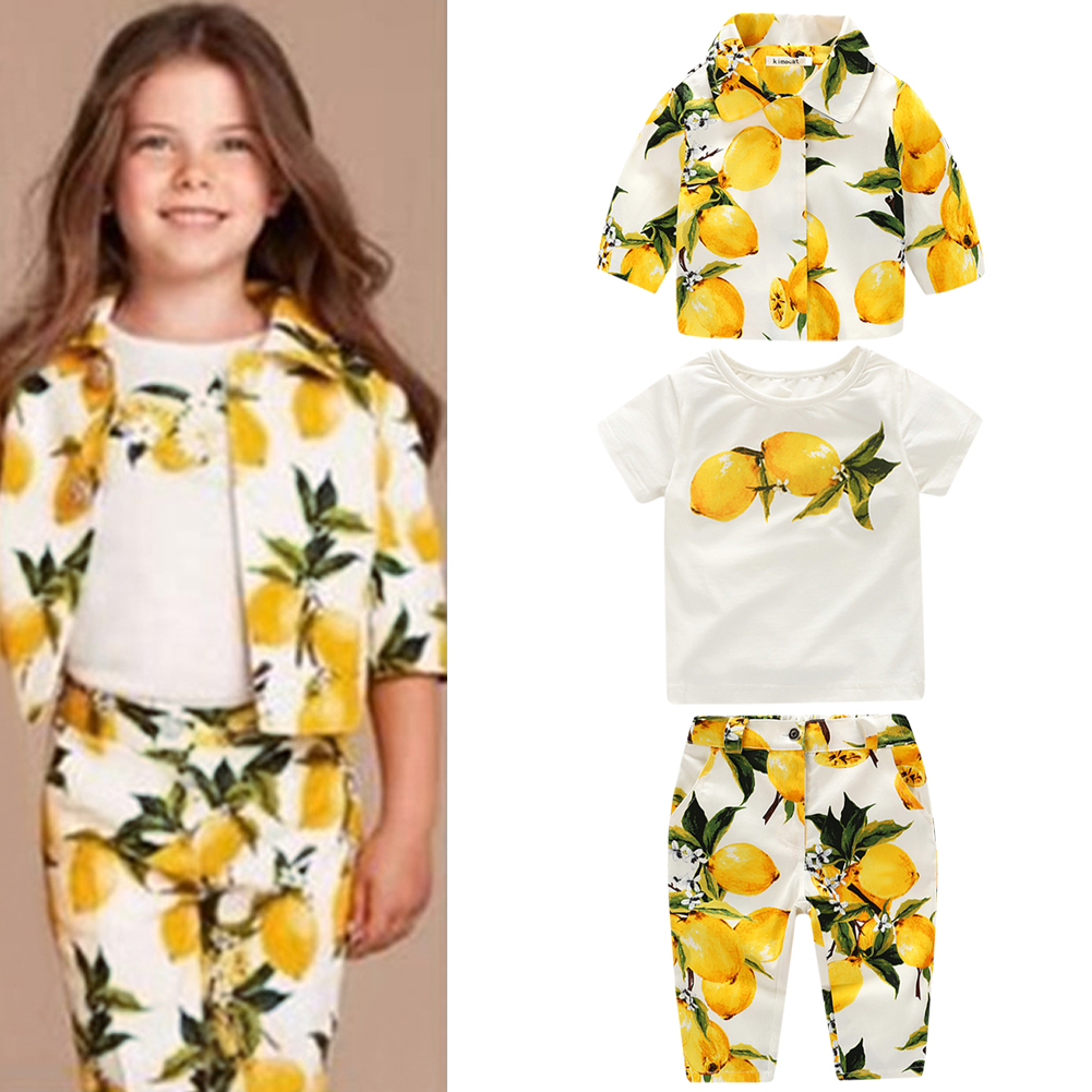 Eoropean Style Girls Clothes Set Spring Autumn Kids Baby Girls Lemon Print Coat+ T-Shirt + Pants 2 To 8 Years keaiyouhuo newborn baby spring autumn girls clothes set rabbit cotton coat pants 2pcs set kid 0 2y girls pure clothes clothing