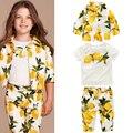 Eoropean estilo meninas roupas set primavera outono crianças meninas lemon impressão casaco + t-shirt + calças do bebê de 2 a 8 anos
