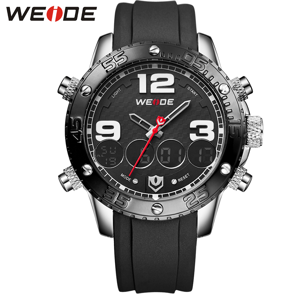 WEIDE 3ATM Waterproof Analog Digital Sport Wrist Watch Multifunction Men's Quartz Movement Date Alarm Stopwatch Display Watches - official store